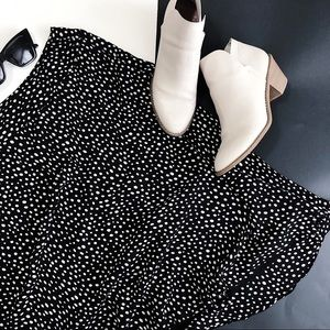 Vintage Spotted Dotted Flowy Plus Skirt